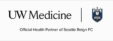 logos of Seattle Reign FC and UW Medicine