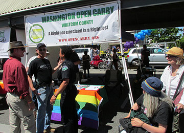an open-carry booth at a gay-pride festival in Bellingham, Washington