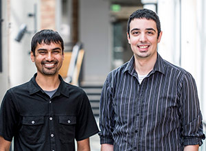 picture of UW PupilScreen collaborators Shwetak Patel, left, and Alex Mariakakis.
