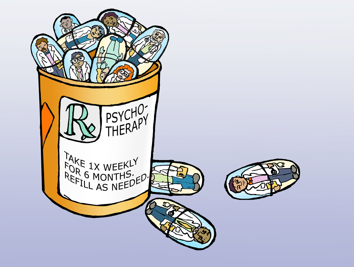 illustration of a bottle of pills, inside which are miniature psychotherapists
