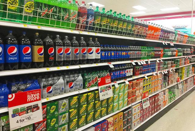 soda aisle at the supermarket