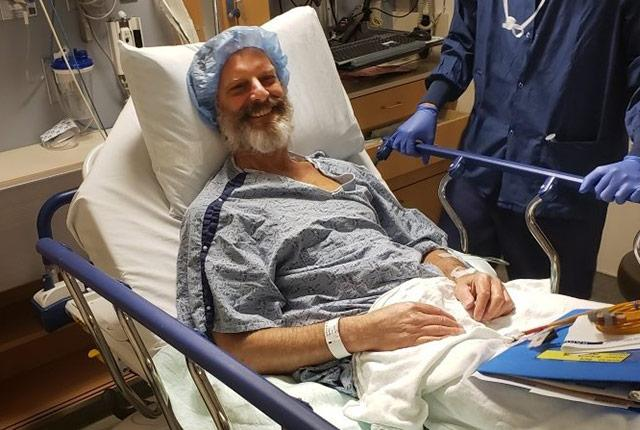 Jere Gianola heads into liver transplant surgery on June 20, 2019.