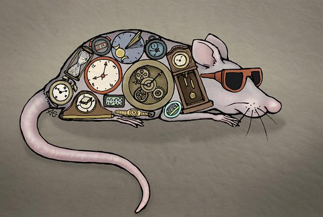 mouse in sunglasses with clocks on its skin