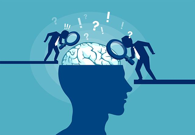Illustration of researchers looking at the brain