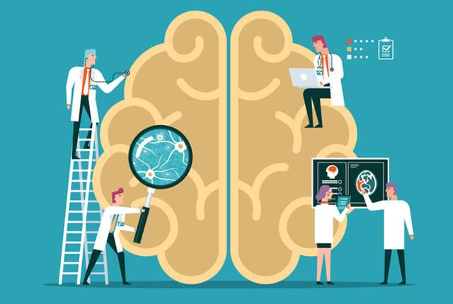 illustration of doctors around a giant brain