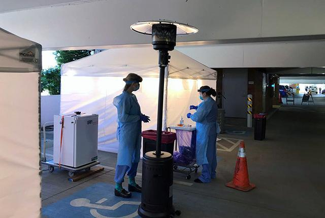 drive-thru coronavirus testing at UW Medical Center Northwest