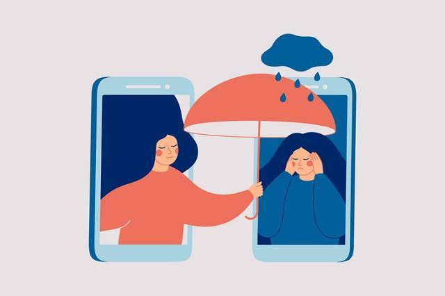 illustration of a woman under umbrella
