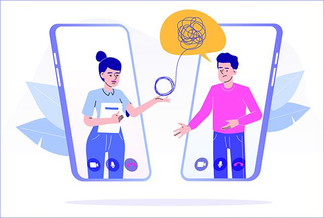 illustration of mental health therapy via smartphone