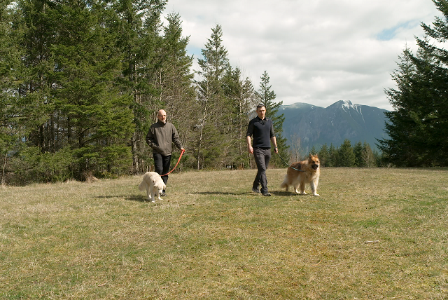 Dog Aging Project leaders Daniel Promislow and Matt Kaeberlein with their dogs