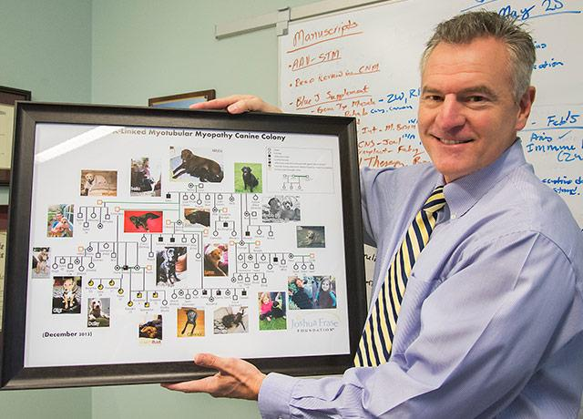 Dr. Casey Childers and pictures of dogs involved in his research.