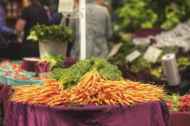 A table at a farmers' market