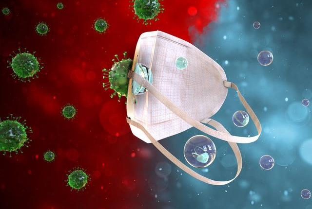 mask floating in space with covid virus around it