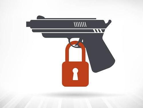 illustration of a handgun with lock