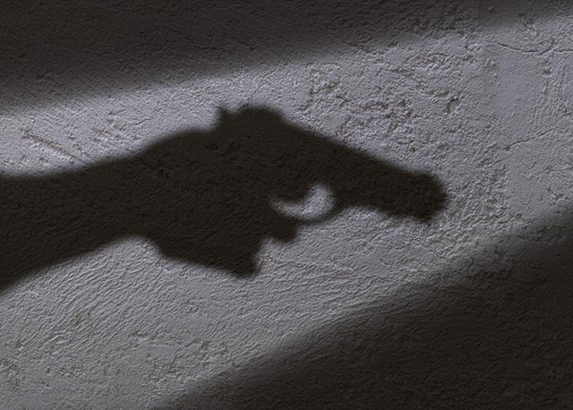 shadow of gun held in hand