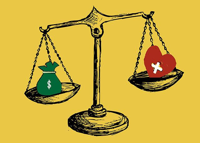 illustration of scales with bag of money on one side and a heart on the other