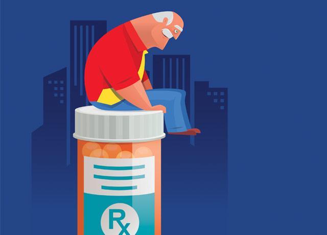 illustration of senior man sitting atop a large prescription bottle