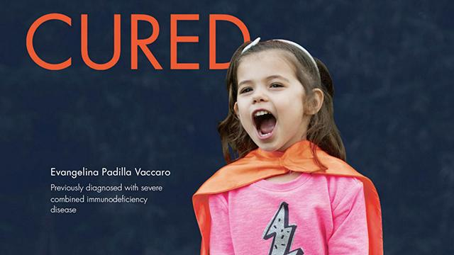 Evangelina Padilla Vaccaro whose rare genetic condition was cured with stem cells.