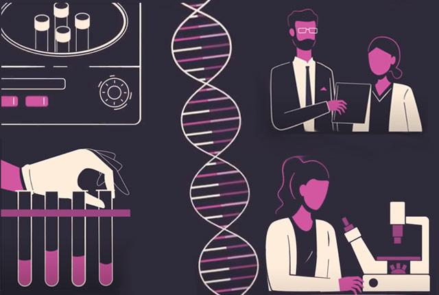 illustrations suggesting DNA research