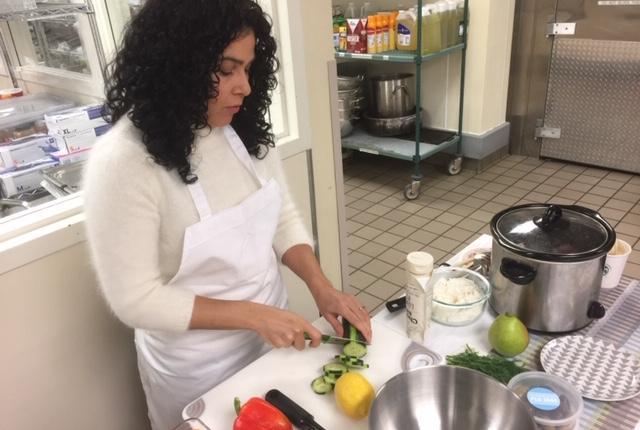 Natalia Groat cutting vegetables