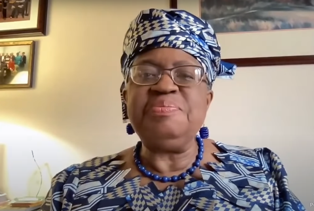 WTO Director-General Ngozi Okonjo-Iweala speaks with reporters via Zoom in February 2021.