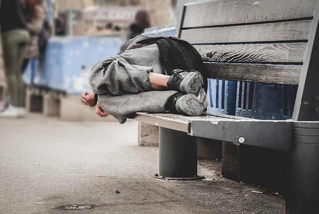 picture of man sleeping outside on a bench
