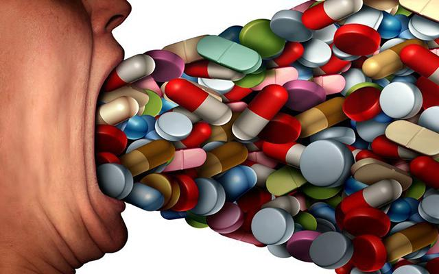 Illustration of person ingesting flood of prescription drugs