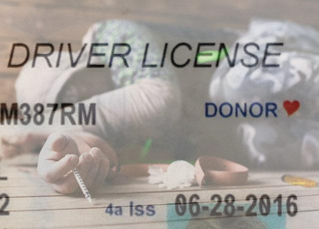 photo illustration of overdose victim and drivers license notation for organ donation