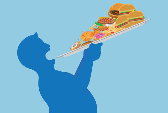 Illustration of man eating huge slice of pizza