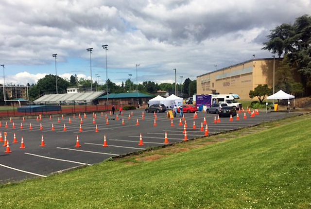 picture of mobile screening site at Rainier Beach High School