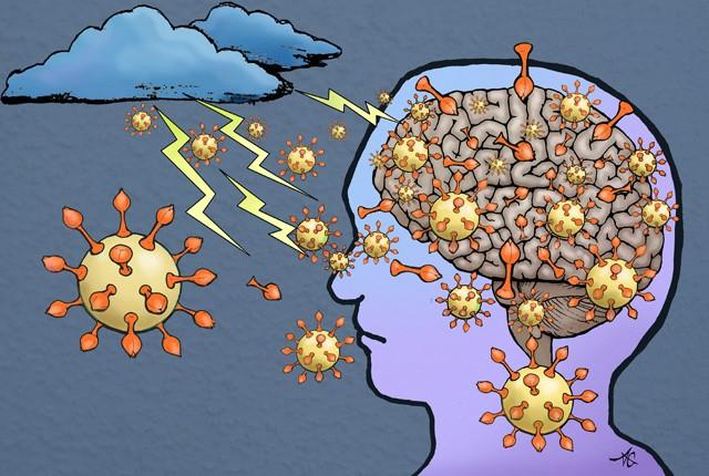Illustration of a storm in your brain from COVID-19