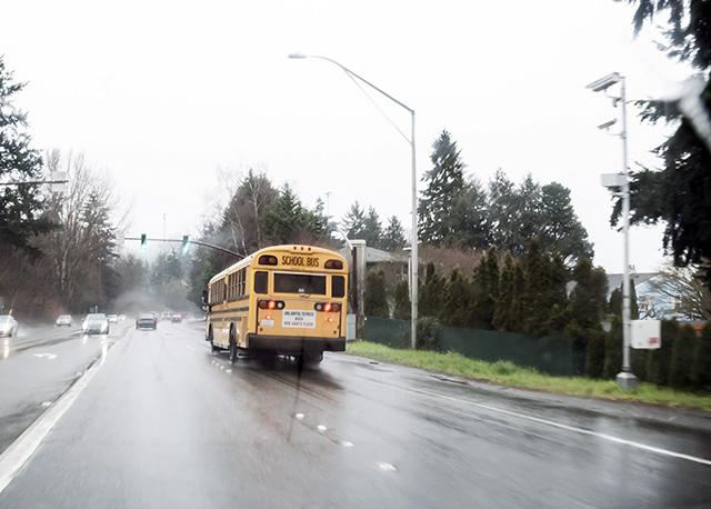 school bus about to enter school zone in Seattle