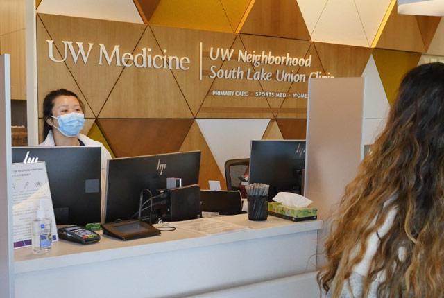 UW Medicine South Lake Union outpatient clinics reception desk