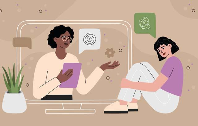 Illustration of psychotherapy online