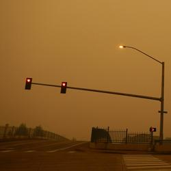 picture of wildfire smoke on Sept. 11, 2020, at a traffic intersection in Harmony, Oregon.