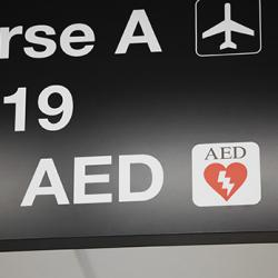 picture of AED signage at airport