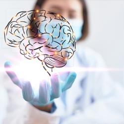 Photo illustration of doctor holding brain