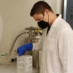 Research scientist in cancer immunotherapy lab