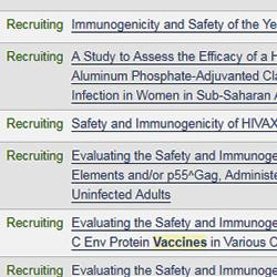 image of listing of some clinical trials of HIV patients