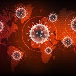 map illustration with coronavirus superimposed