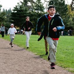 children run at Madrona Elementary School in SeaTac, Washington