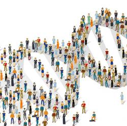 DNA molecule illustration composed of human figures of many types