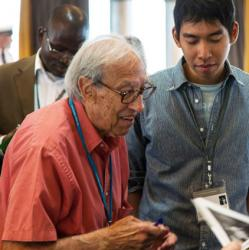 Edmond Fischer at Lindau Nobel Meeting i n 2014