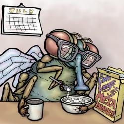 illustration of a fruit-fly eating a bowl of life-extending cereal