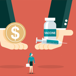 illustration of corporate hands offering payment and vaccine to an employee