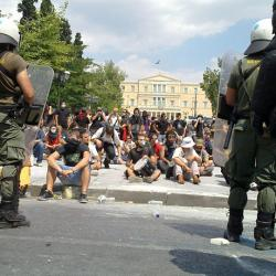 picture of austerity protesters at a central square in Athens, Greece, in 2011