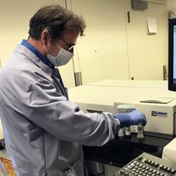 Greg Pepper prepares a test for SARS-CoV-2 antibodies at UW Medical Center – Montlake.