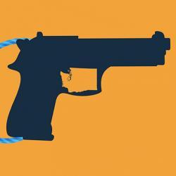 illustration of handgun with lock