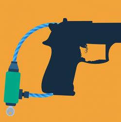 illustration of handgun with lock and inset silhouette of Washington state