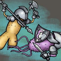 illustration of bacteria battle in the gut