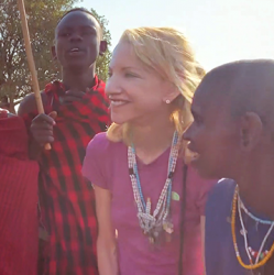 picture of Nancy Jecker with Masai tribe members in Tanzania